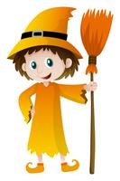 Wizard holding magic broom