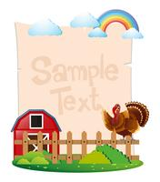Paper template with turkey in the farm