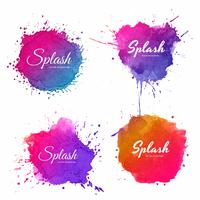 Beautiful soft watercolor splash set design