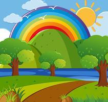 Hintergrundszene mit Regenbogen über dem Park