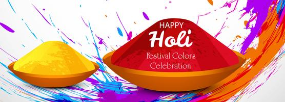 Beautiful holi festival celebration banner vector