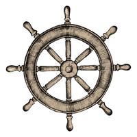 Hand getrokken schip wiel