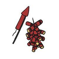Mão desenhada ilustração chinesa de fogos de artifício
