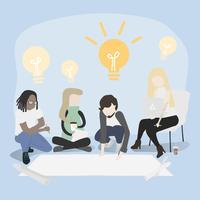 Ilustración dibujo estilo de colección de personas de negocios