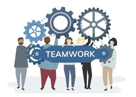 Illustration of character with cogwheel gears portraying teamwork concept