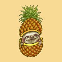Mignonne paresse furtivement à travers une illustration d'ananas
