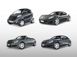 Conjunto de vários vetores de carros cinza
