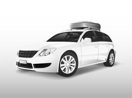 SUV branco com uma caixa de armazenamento de teto