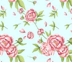 Dibujado a mano patrón de peonía rosa