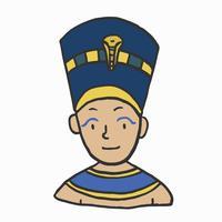 Dibujado a mano joven faraón, rey egipcio