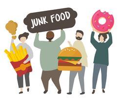 Leute, die ungesunde Fertigkostillustration halten