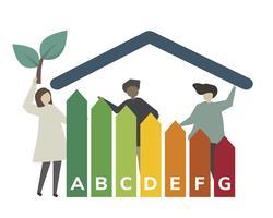 Famiglia ed illustrazione di concetto di tasso di rendimento energetico