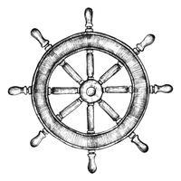 Mão desenhada roda do navio