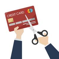 Illustration of scissors cutting a credit card