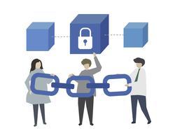 Blockchain-teknik och cryptocurrency illustration