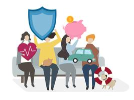 Illustration of people with insurance policies