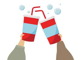 Illustration of hands holding soda drinks