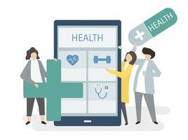 Illustrazione di persone con assistenza sanitaria