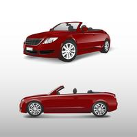 Rotes konvertierbares Auto getrennt auf weißem Vektor