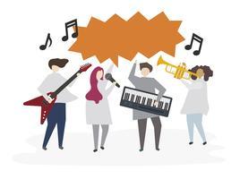 Illustrerade vänner spelar musik tillsammans