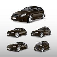 Conjunto de vários modelos de vetores de carros marrons