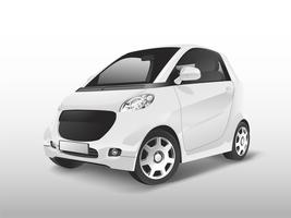 White compact hybrid car vector