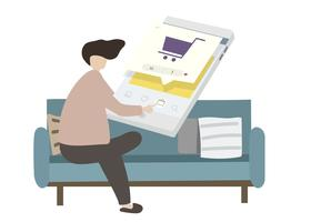 Illustration of a character online shopping