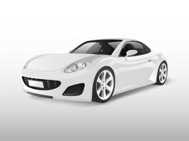 White sports car isolated on white vector