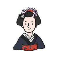 Young girl in kimono illustration