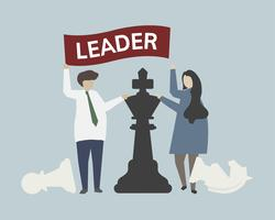 Leadership with chess strategy concept illustration