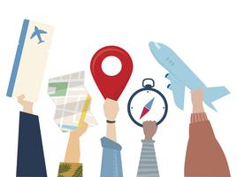 Illustration of travel journey concept