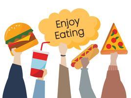 Ilustración de manos sosteniendo comida chatarra