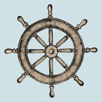 Rueda de barco dibujado a mano