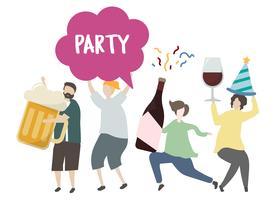 Amici che tengono le bevande alcoliche e partyiing illustrazione