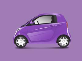 Vetor de carro híbrido compacto roxo