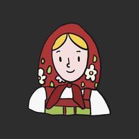 Mulher russa tradicional usando um cachecol