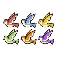 Set of colorful doves illustration