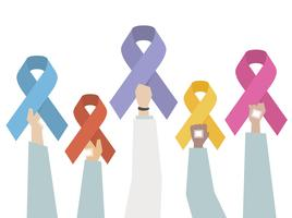 Illustration set of awareness ribbon