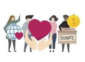 Schenking en vrijwilligerswerk gemeenschapsdienst illustratie