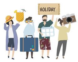 Gente en ilustración de vacaciones