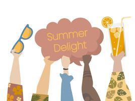 Ilustração, de, pessoas, desfrutando, verão