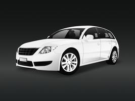 White SUV car in a black background vector