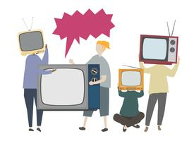 Ilustração do conceito de televisão retrô clássico