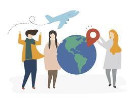 Pessoas de caráter com ícones de viagens