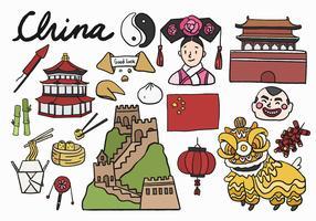 Conjunto de ícones e monumentos chineses