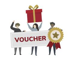 Happy customers with voucher illustration