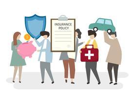 Ilustração de pessoas com uma apólice de seguro