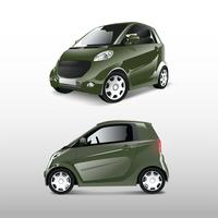 Green compact hybrid car vector