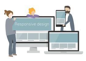 Illustration av tecken och lyhörd webbdesignkoncept