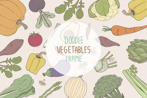 Colored doodle vegetable frames